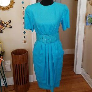 VTG Ronnie Heller MJ Blue Dress w Belt!😍